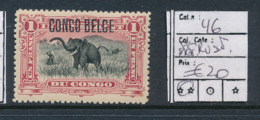 BELGIAN CONGO 1909 ISSUE TYPO. OVERPRINT COB 46 MNH SPOT OF RUST POINTE DE ROUILLE - Congo Belga