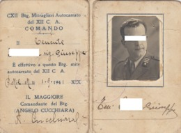 MITRAGLIERI AUTOCARRATO DEL XII CORPO D'ARMATA _ 1941 /  Rara Tessera Del CXII Btg. Mitraglieri Autocarrato  _ 2^ Guerra - Documentos Históricos