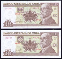 CUBA 10 PESOS 2018 SC-UNC PAREJA CORRELATIVA PICK 117R ULTIMA SERIE EMITIDA. - Cuba