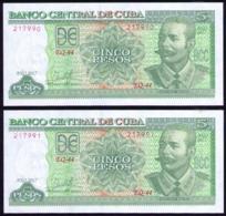 CUBA 5 PESOS 2017 SC-UNC PAREJA CORRELATIVA PICK 116F ULTIMA SERIE EMITIDA - Cuba