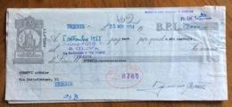 CAMBIALE   AMG FTT  LIRE  VENTIQUATTRO  TRIESTE   IN FILIGRANA  CMF 1953 CON UNITO ATTO DI PROTESTO - 7. Triest