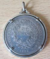 France - Monnaie 50 Francs Hercule 1976  - SUP - Montée En Pendentif En Argent Massif (Poinçon Minerve) - Achat Immédiat - M. 50 Francs