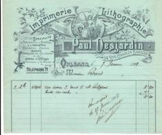 Facture Ancienne D'un Artisan Paul Desjardin Imprimerie Lithographie à Orléans  En 1917 - France