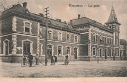 67 Haguenau La Gare Cpa Carte Animée - Haguenau