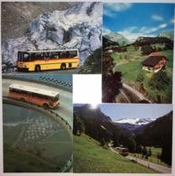 Schweiz Suisse 1981/91: Zu 646+731+743 Auf 4xBild-PK CPI POSTAUTO GOTTHARDPASS FURKAPASS, LAUENEN Mit Sonder-Stempel - Busses