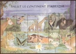 Congo 2000 African Animals Butterflies Birds Sheetlet MNH - Briefmarken
