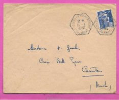 Lettre Marianne De Gandon 15c Bleu Ob.hexagone Tirets COLLEVILLE MONTGOMERY  CALVADOS - 1921-1960: Moderne