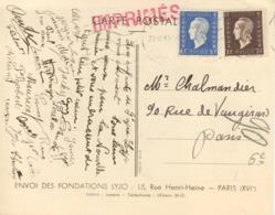 10C + 70C MARIANNE DULAC / CARTE POSTALE TARIF IMPRIME 22/12/46 - FONDATION Lyjo - Marcophilie (Lettres)
