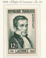 PIA  - FRAN : 1952 : Dott. René Laennec - Inventore Dello Stetoscopio  - (Yv 936) - Salute