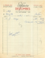 FACTURE 1950 PARFUMERIE DESTOMBES LILLE 12-14 RUE FAIDHERBE - 1950 - ...