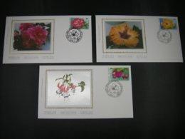 """BELG.1995 2589 2590 & 2591 FDC's Soie/zijde ( St.Hubert) :  """"Floralien / Floralies  """" - FDC"""