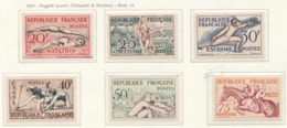PIA  - FRANCIA  -  1953  : Giochi Olimpici Di Helinki - (Yv  960-65) - Sommer 1952: Helsinki