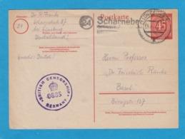 P955. GANZSACHE VON LÜNEBURG NACH BASEL.BRITISCHER ZENSUR STEMPEL UND KAUM LESBARER LANDPOSTSTEMPEL. - Zone Anglo-Américaine