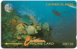 Cayman Isl. - Diver In Reef, 5CCIA, 1992, 53.526ex, Used - Kaaimaneilanden