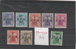 Réunion  Neuf *  1949-50  Taxe N° 36/44 Sauf 43     Timbres Taxe Surchargés En Francs CFA - Postage Due