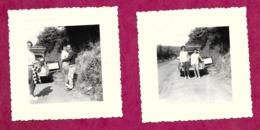 Lot De 2 PHOTOS 8 X 8 Cm De 1961...retour D'Italie En Automobile CITROËN DS Break Commerciale - Cars
