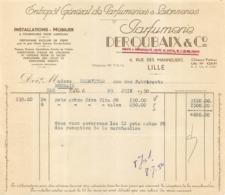 FACTURE PARFUMERIE DEROUBAIX 1950 LILLE 4 RUE DES MANNELIERS - 1950 - ...