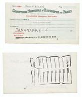 MADAGASCAR MADAGASKAR MALAGASY  CHEQUE COMPTOIR NATIONAL De PARIS - Madagaskar