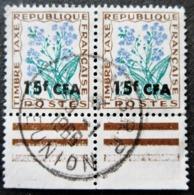Réunion Obl. Taxe N° 51 - Fleurs Des Champs (paire Oblitération REUNION  - Timbre De France Surchargé CFA - Réunion (1852-1975)
