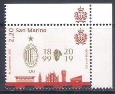San Marino (2019) Calcio/football: 120th Anniversary AC Milan [single Stamp + Labels] - As Scan - Calcio