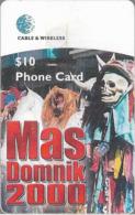 Dominica - C&W (Chip) - Sensay Costumes, Mas Domnik 2000, Chip Gem5 Red, Used - Dominica