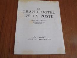 """Carte De Tarifs """" Les Grands Vins De Champagne """" Le Grand Hotel De La Poste à Montargis - Alte Papiere"""