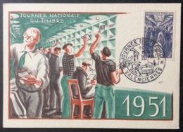 CM402 Valenciennes Carte Maximum 879 Journée Du Timbre 10/3/1951 - Cartes-Maximum