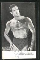 AK Ringer, Jorge Calvo In Trikot Und Pose, Luchador Internacional - Ringen