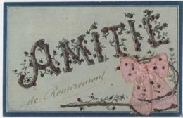REMIREMONT (88) AMITIE De REMIREMONT. CARTE Avec PETITES PERLES BRILLANTES. - Remiremont