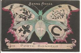 L80b100 - Bonne Année - Porte Bonheur - Papillon Mutivues Sur Les Ailes  -  LB Paris - New Year
