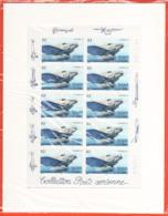 PA 64 F64a , Neuf  ** , Couzinet 70 , Feuille De 10 Timbres Avec Le Cadre Blanc , Port Gratuit - 1960-.... Neufs