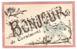 CORNIMONT (88) - Carte Fantaisie - BONJOUR De Cornimont - Noeud En Tissu En Relief - Paillettes - Cornimont