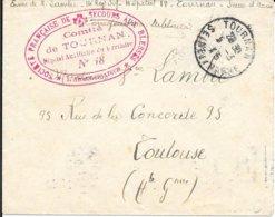 SEINE ET MARNE 77 -  TOURNAN - S.F.S.B. COMITE DE TOURNAN HOPITAL AUXILIAIRE DU TERRITOIRE N° 18 - 2 C O ROUGE CR - 1915 - Guerra De 1914-18