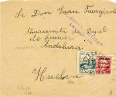 ESPAÑA GUERRA CIVIL. ANTEQUERA (MÁLAGA) A HUELVA 11.05.37 Frontal Con  Sello Local Y Censura - 1931-50 Cartas