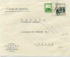 ESPAÑA GUERRA CIVIL. ANTEQUERA (MÁLAGA) A BURGOS 14.05.37 Frontal Con  Sello Local Y Censura - 1931-50 Cartas