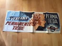 Affiche Publicitaire Années 50 1950 Ici La Véritable Permanente Tiede Signé  Raymond Duc Raymond Ducatez - Beauty Products