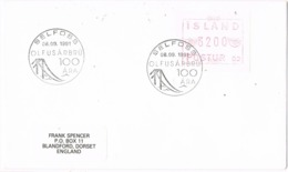 34073. Carta F.D.C. SELFOSS (Island) 1991. Olfusarbru. Automaten Stamp, ATM - 1944-... República