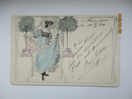 BEAUTIFUL WOMAN , ART DECO ART NOVEAU 1904 RUSSIA ST. PETERSBURG  , OLD POSTCARD   , O - 1900-1949