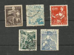 Japon N°363, 380D, 396, 399, 400 Cote 3.80 Euros - 1926-89 Emperor Hirohito (Showa Era)