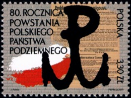 Poland 2019 Fi 5007 Mi 5157 80th Anniversary Of The Creation Of Polish Underground State - 1944-.... República
