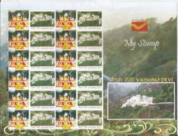 Special My Stamp, India,Vaishno Devi, Shrine,Hindu Goddess Mata Adi Shakti, Goddess Mahalakshmi,Sheet Of 12 MNH Stamps, - Hinduism