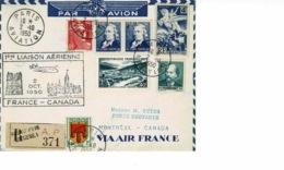 AVIATION AEROPOSTALE. 1ere Liaison AERIENNE FRANCE CANADA2 OCT 1950 - Frankrijk