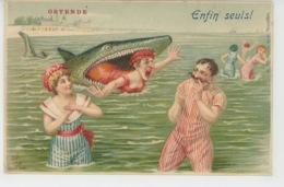 "FEMMES - FRAU - LADY - MODE - BAINS DE MER - Jolie Carte Fantaisie Baigneuses Requin ""Enfin Seuls ! , à OSTENDE BELGIQUE - Femmes"