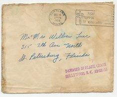 Crash Mail Cover USA 1955 Damaged In Plane Crash Hollywood - Non Classificati