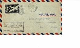 AVIATION AEROPOSTALE. 1ER VOYAGE REGULIER NOUMEA-PARIS PAR AF 1949 SEPT, TIMBRE FRANCE LIBRE NOUV CALEDONIE - Neukaledonien