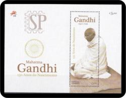 Portugal 2019 Mini Feuille 150 Anos Mahatma Gandhi Timbre Khadi, Le Tissu Fabriqué à La Main Fibres Natural L'histoire - Mahatma Gandhi
