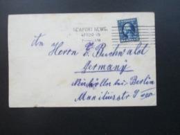 USA 1915 Newport News - Neukölln Bei Berlin Umschlag Der Royal Mail Steam Packet Company Mit Krone (Prägung) - Briefe U. Dokumente