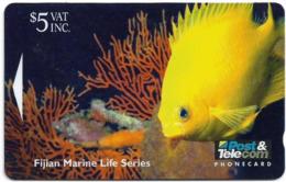 Fiji - Golden Damsel Fish - 10FJC - 1995, 30.000ex, Used - Fiji