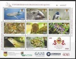ECUADOR, 2018, MNH, UNIVERSITY OF SAN FRANCISCO QUITO, FROGS, BIRDS, SHARKS, LIZARDS, MONKEYS, FLORA, SHEETLET, SCARCE - Birds