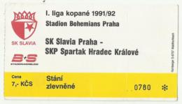 Football Soccer Match Ticket SK Slavia Praha - SKP Spartak Hradec Kralove 1991 /92 , Stadium Bohemians - Apparel, Souvenirs & Other
